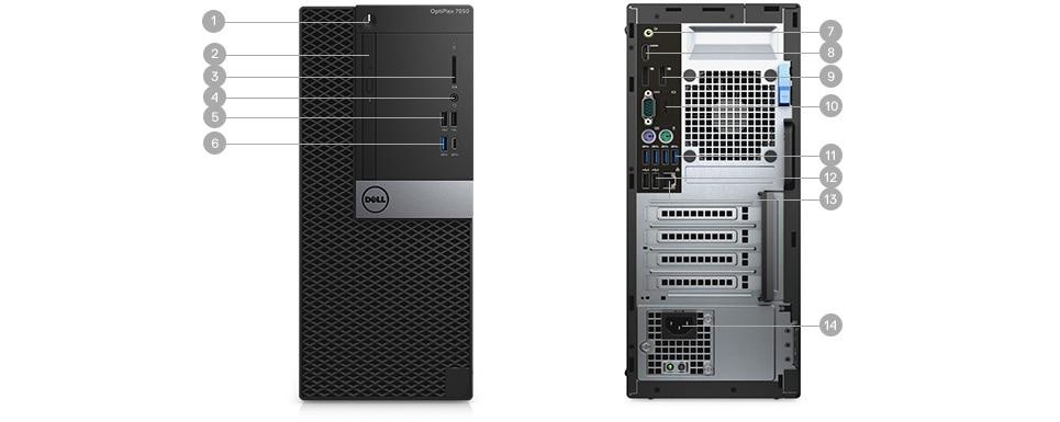 OptiPlex 7050 החדש בתצורת Tower ובתצורת גורם צורה קטן - יציאות וחריצים - תצורת Tower